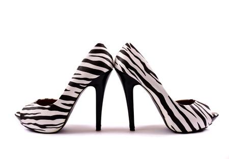 High heels zebra isolated on white Stock Photo
