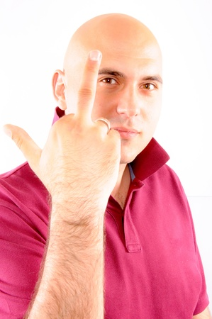 Bad Man showing midle finger Stock Photo - 13878993