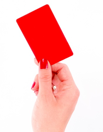 Female hand hold red card Stock Photo - 14043847