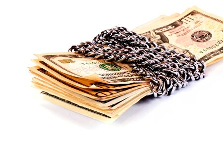 stingy: Locked money with the chains  Stock Photo