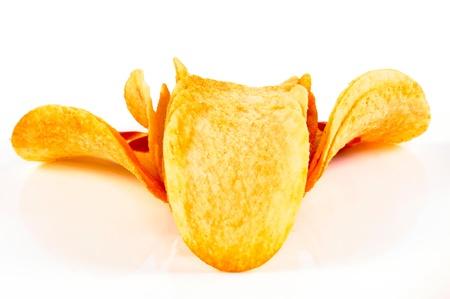 gease: Potato chips isolated on white Stock Photo