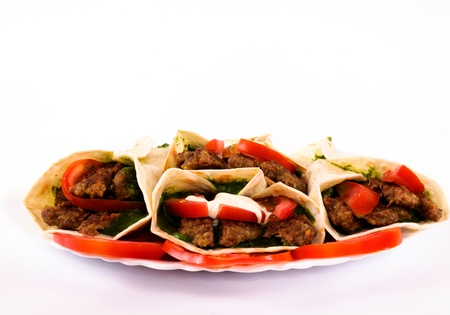 Kebabs in the plate isolated  photo