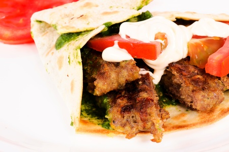 single and tasty kebab pita Stock Photo - 14348163