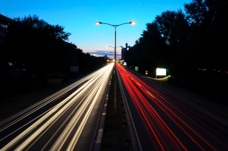Long exposure with light trails photo
