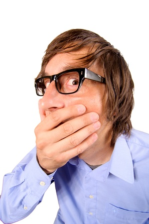Business man with hand on his mouth Stock Photo