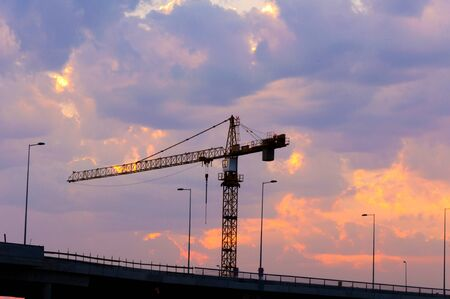 Sunset on construction site photo