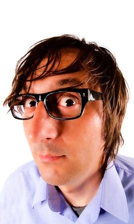 consternation: Curiosity guy with eyeglasses Stock Photo