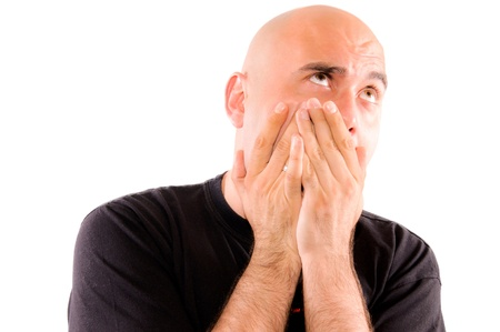 Bald guy have problem with tooth