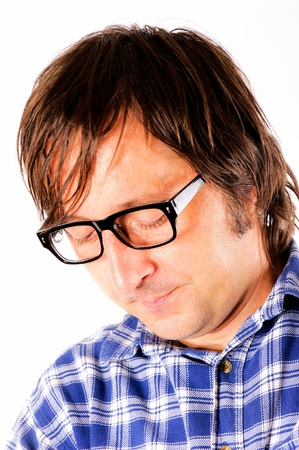 Man with the eyeglass looking down Stock Photo - 14658053