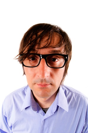 duh: Bored guy with eyeglass isolated on white Stock Photo