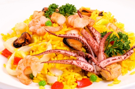 Tasty seafood on the white plate Stock Photo - 14677469