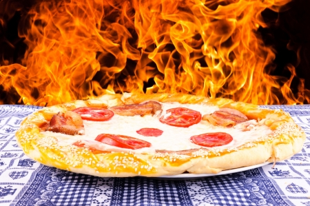 woodfired: Pizza with the fire Stock Photo