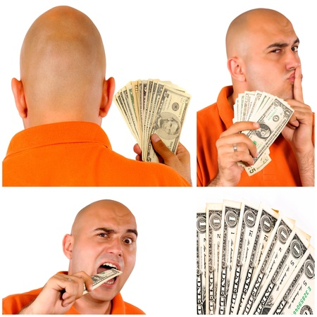 Man with money collage photo