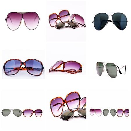 casal: Óculos de sol isolados na colagem