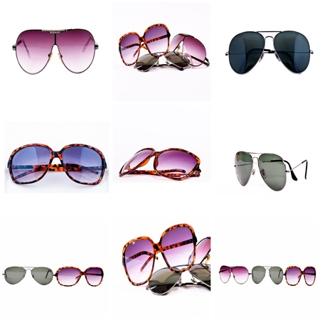 Isolated sunglasses in collage
