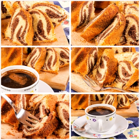 Marble cake and coffee collage photo