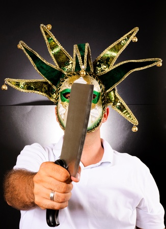 Masked Maniac whit meat chopper Stock Photo - 14767626