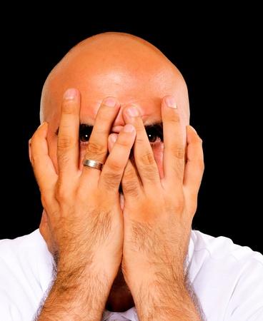 Frightened man isolated on black Stock Photo - 14767625