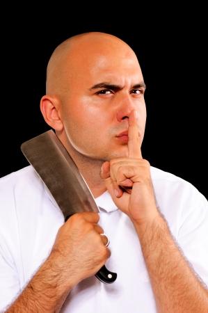 Bald guy holding meat chopper photo