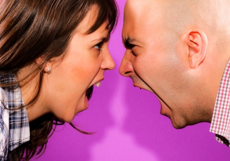Married couple have conversation Stock Photo