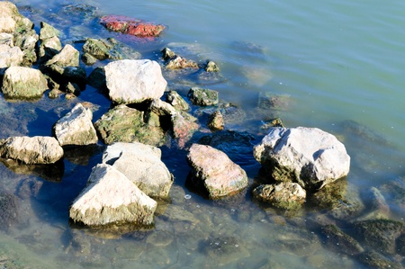 Big stones in the water Stock Photo
