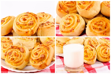 Collage of the tasty pastry photo
