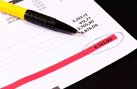 Regular invoice with the pen photo