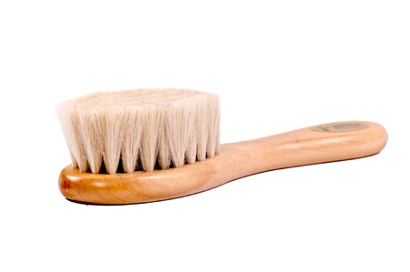 Wooden baby brush isolated on white Stock Photo - 15027493