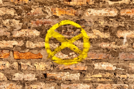 No parking sign on the bricks photo