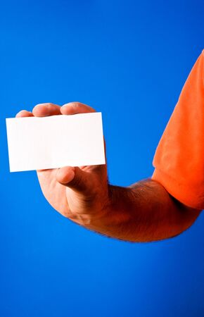 White blank paper on blue background Stock Photo - 15027781