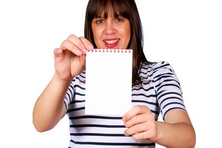 Female holding white blank paper Stock Photo - 15362060