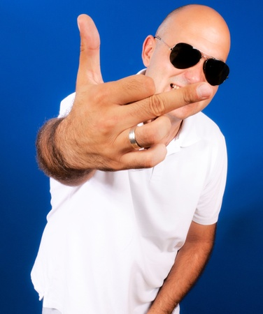 Bad man showing middle finger Stock Photo - 15362061