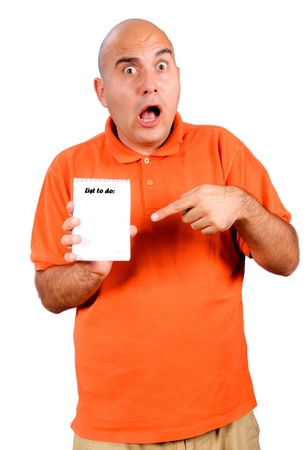Bald man holding blank paper  Stock Photo - 15362063