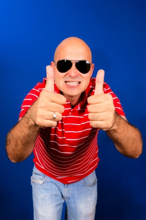 Bald guy showing ok sign Stock Photo - 15390485