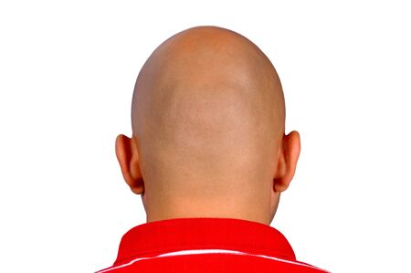 Man with bald head isolated on white photo