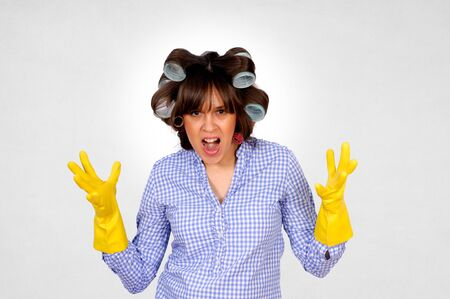houseclean: Angru housewife with gloves and curlers
