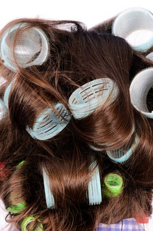 Curlers in the dark hair Stock Photo - 15467381