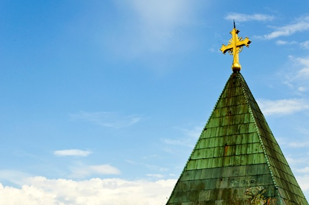 The cross on the roof of the Orthodox Church photo