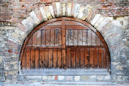 Old wooden door and bricks photo