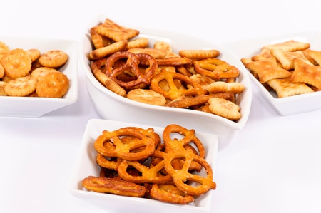 Variation of the salted snacks Stock Photo