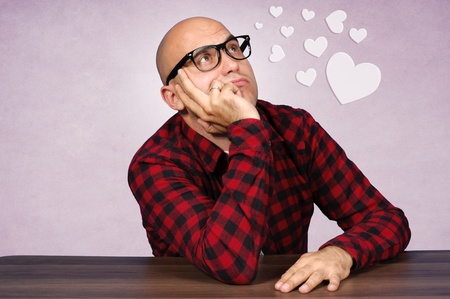 Bald guy is totaly in love Stock Photo - 15737513