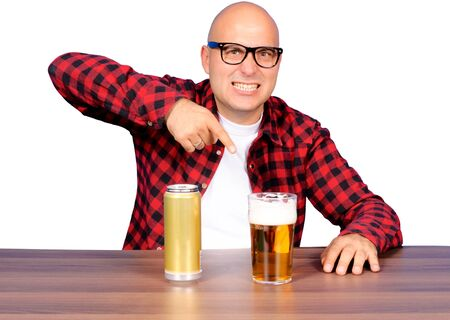 Funny man pointing on the beer photo
