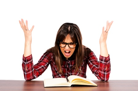 Female have the stress from learning Stock Photo - 15762343