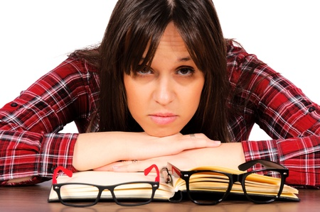 Selective foscus on the female concerned student Stock Photo - 15762350