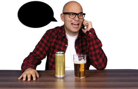 Drunk guy have a conversations photo