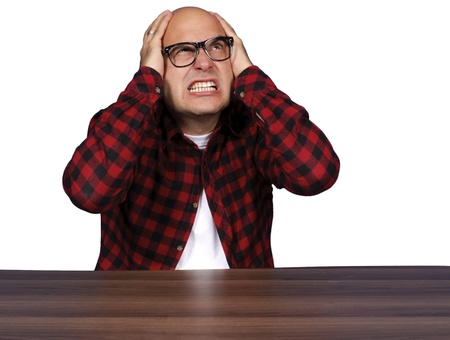 Man expecting  something to fall on he Stock Photo - 15762353