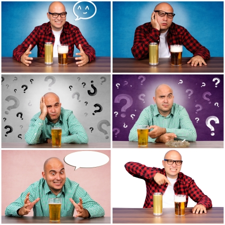 Bald guy with the beer collage photo