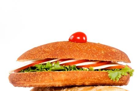 Diet sandwich on the white background photo