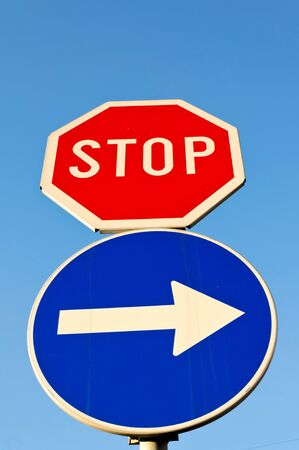 Stop and go right sign on the street Stock Photo - 15913397