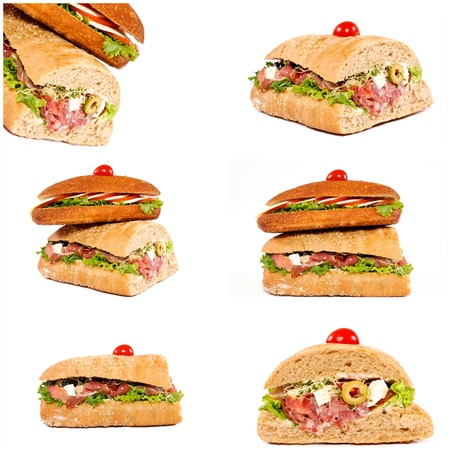 Sandwiches isolated on white collage photo